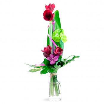 Bouquet hauteur avec deux amaryllis rouges, un anthurium vert et de la wanda rose