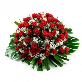 coussin de roses deuil