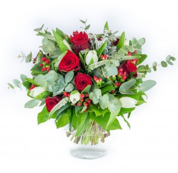 Bouquet de roses et tulipes