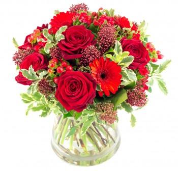 Passionnément : bouquet rond avec des roses rouges pour la Saint Valentin
