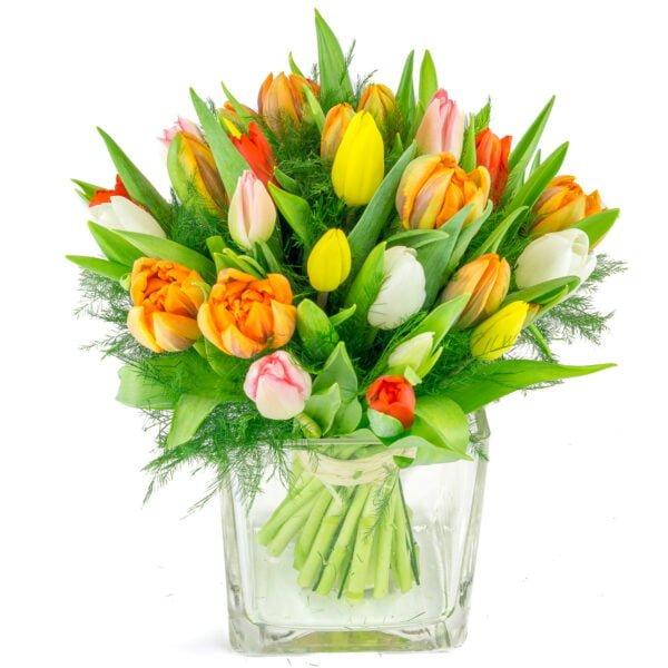 bouquet coloré de tulipes avec feuillage