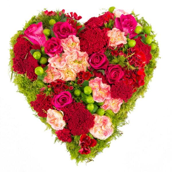 Irresistible : cœur avec multifleurs roses et rouges pour la Saint Valentin