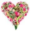 coeur multifleurs roses - deuil